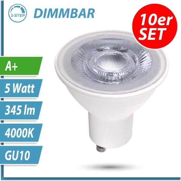 10x LED 3-Step-Dimmbare GU10 Lampe 5W neutralweiß