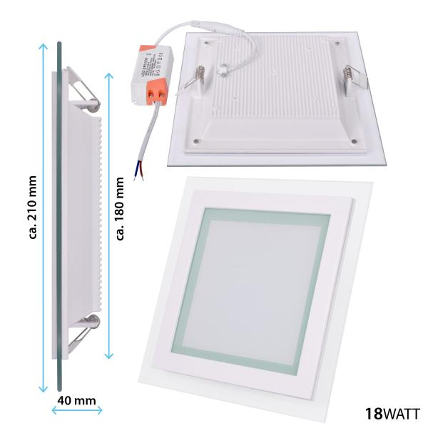LED-Panel Glasrand 18 Watt warmweiß eckig