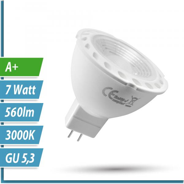 LED Spot-Lampe Weiß 7 Watt GU5.3 12V MR16  - EEK: A+ (Spektrum: A++ bis E)