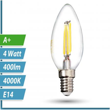 LED Filament-Lampe Kerze 4 Watt neutralweiß E14 230V