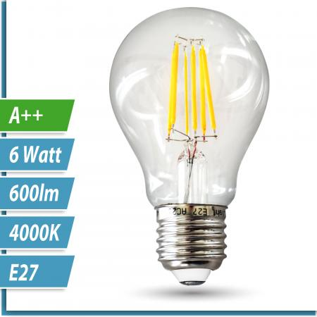 LED Filament-Lampe Birne 6 Watt neutralweiß E27 230V