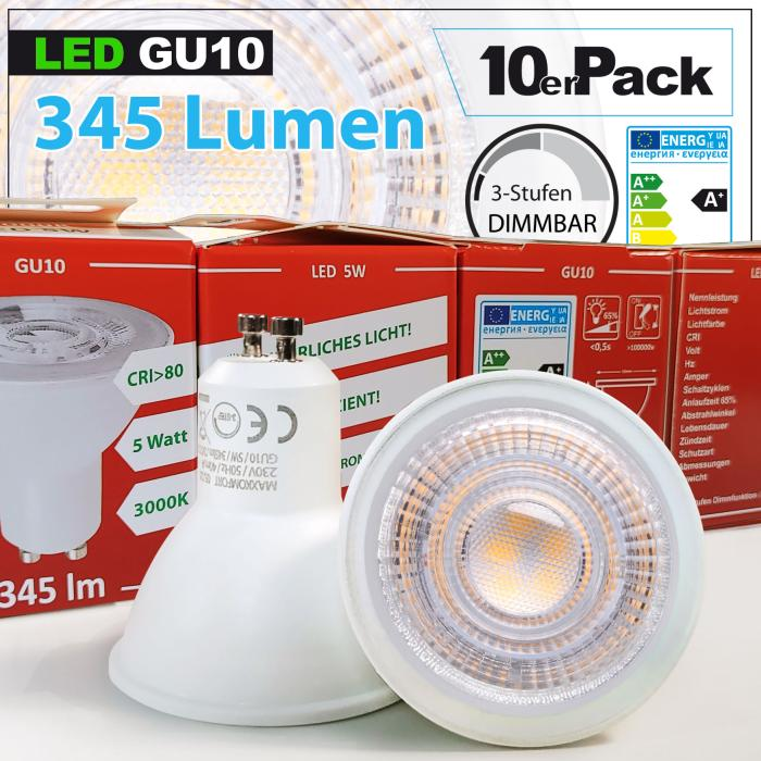 10x LED 3-Step-Dimmbare GU10 Lampe 5W warmweiß