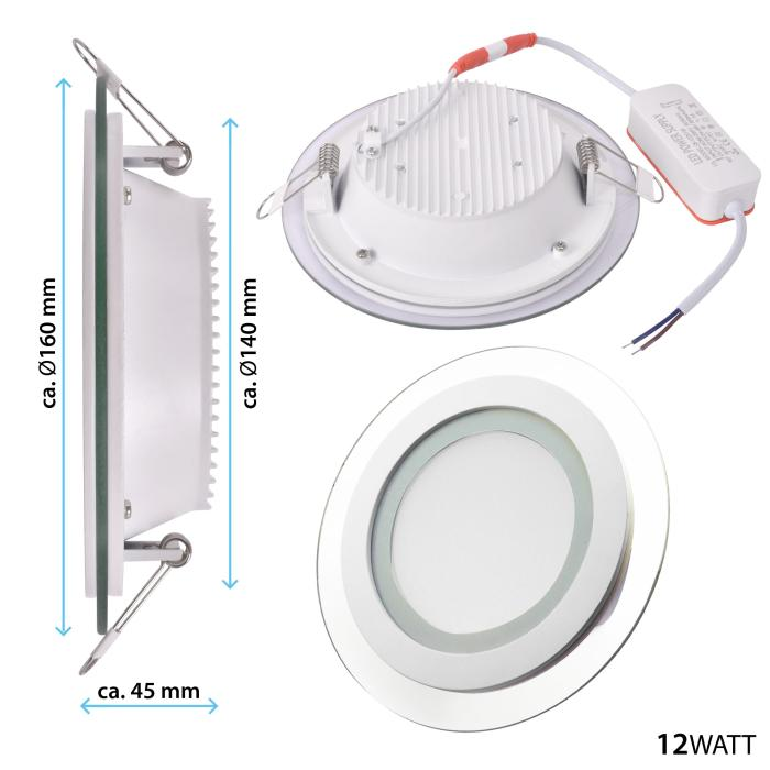 LED-Panel Glasrand 12 Watt neutralweiß rund